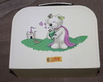 This is a Steiff KNOPF IM OHR Lunch Box Which is Made Out of Cardboard, It Usually Comes w a Steiff Bear or Other Plush Animal, Collectible
