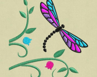 Embroidery design Dragonfly ornament 4x4 pes hus jef