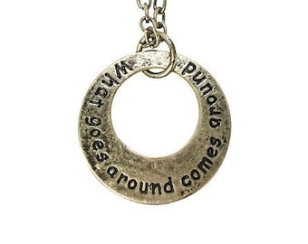 What goes around comes around necklace, karma necklace, karma jewelry, stamped pendant, yoga necklace,