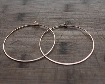 Hammered Copper Hoop Earrings - Solid Copper Jewelry - Handmade - 18 Gauge Earring
