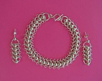 Sterling silver centipede bracelet and earring set