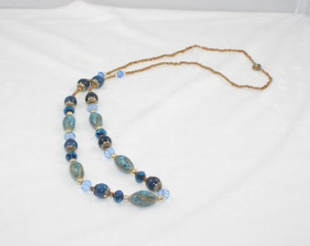 Free shipping,blue stone long necklace,crystal,glass beads,vintage,bangle,personalized,wholesale(XL82)