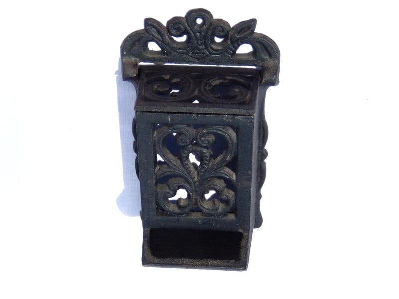 Antique Black Cast Iron Match Stick Holder Wall Hanging