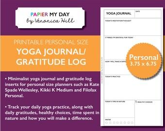 Personal Filofax Yoga Journal - Printable Yoga Journal and Daily Gratitude Log for Filofax Personal, Kikki K and Kate Spade planners