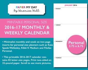 Filofax Personal 2016 Week on Two Pages - Filofax 2016 Month on Two Pages - Fits Filofax Personal, Kikki K Medium