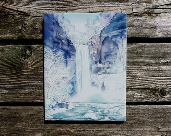 Wall Art, Ceramic Tile, Watercolor of Taughannock Falls, Ithaca NY, Finger Lakes, by Cheryl Chalmers