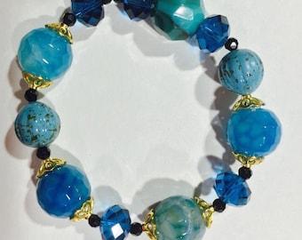 Sparkly blue glass bead
