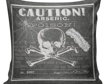 Cushion Pillow Halloween Skeleton Arsenic Poison Label Chalkboard Cotton and Burlap #RQ0069 RavenQuoth All Hallow's Eve Home Decor