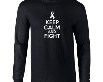 Keep Calm And Fight Mens Long Sleeve T-Shirt Fighter Sickness Strong - K38