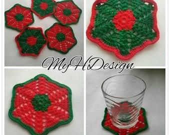 Cotton coasters, Crocheted coasters, Set of 5 coasters. Handmade coasters.