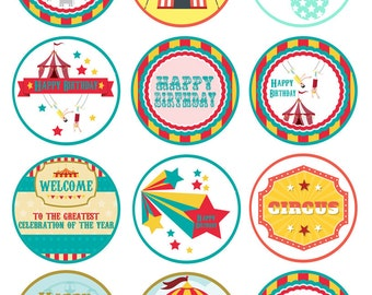 Circus Carnival Printable Cupcake Toppers Instant Download Party Supply Circus Toppers Carnival Printables Digital File