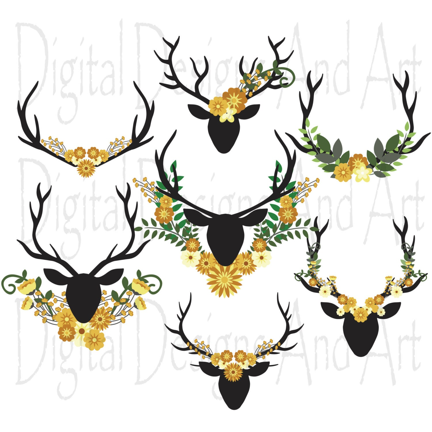 Floral antlers Yellow flower antler clipart floral bouquet