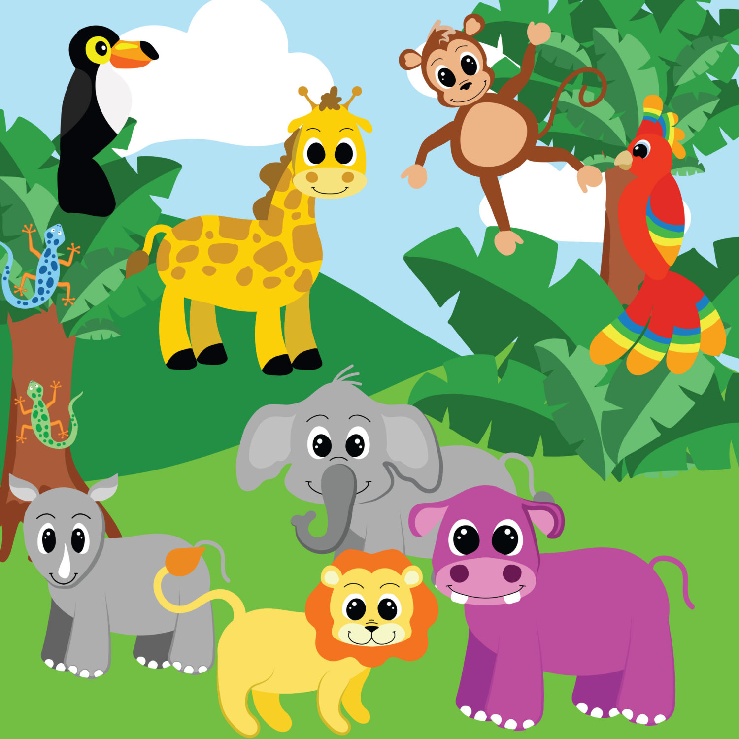 jungle animals clipart clip lion bird hippo scene digital birds cliparts elements party autism library cute playland clipground train night