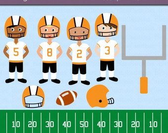 American Football Boys in Orange and Black Digital Art Set Clipart Commercial Use Clip Art INSTANT Download