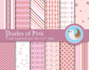 Pink Digital Paper Set - Soft Pink Digital Paper - Pastel Pink Digital Paper - Salmon Pink Paper - Set of 12 Digital Scrapbo
