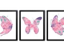 Butterfly Nursery Art For Girl, Watercolor Butterfly Art Print - BS9