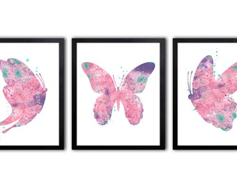 Butterfly Nursery Art For Girl, Watercolor Butterfly Art Print - BS9