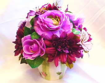 FREE SHIPPING! Lovely Day ~ Silk Floral Arrangement of Purple Flowers & Butterflies in Ceramic Vase w/ Stripes Centerpiece Unique Gift Large