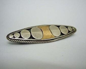 Vintage Art Deco Sterling Gold Geeometric Oval Brooch