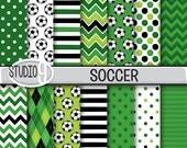 SOCCER Digital Paper: Soccer Printable Pattern Print, 12 x 12 Soccer Download, Soccer Backgrounds Soccer Scrapbook