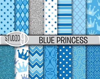 "BLUE PRINCESS 12"" x 12"" Digital Paper Digital Illustrated Pattern Print, Instant Download, Patterns Backgrounds Scrapbook"