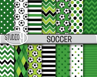 SOCCER Digital Paper: Soccer Printable Pattern Print, 12 x 12 Soccer Download, Soccer Backgrounds Soccer Scrapbook