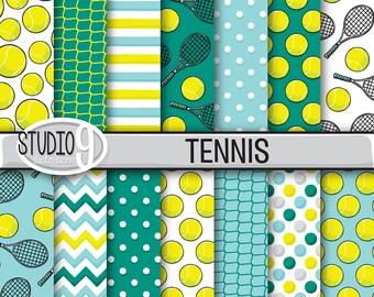 "TENNIS Patterns Digital Paper 12"" x 12"" Digital Illustrated Pattern Print, Instant Download, Backgrounds Scrapbook"