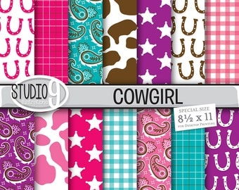 "COWGIRL Digital Paper: Cowgirl Printable ""Bright Cowgirl"" Pattern Print, Cowgirl Download, Cowgirl Backgrounds Cowgirl Scrapbook"