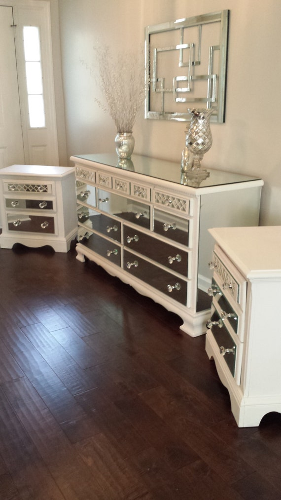 Mirrored dresser and 2 matching nightstands pure white with for Matching bed and dresser