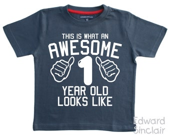 This is what an awesome 1 year old looks like. Boys 1st Birthday T-shirt
