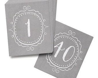 Vintage Charm Gray Table Number Cards for Wedding Reception and Parties