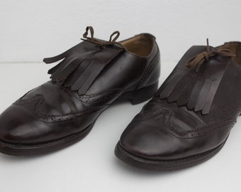Size 10 Corinthian Dark Brown Leather Loafer Brogues With Fringe
