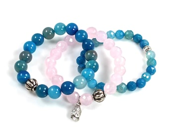 Pink and Blue Stretch Buddha Bracelets