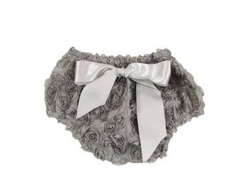 Baby Girl Gray Rosette Bloomer, Baby Diaper Cover, Photo Prop
