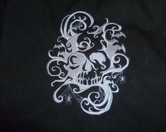 Skull Canvas Bag Embroidered Messenger Bag LARP Goth Skeleton 100% cotton canvas messenger