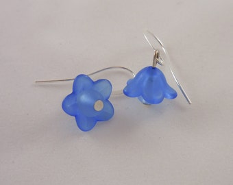Small Blue Lucite Flower Earrings Silver Plated Ear Wires