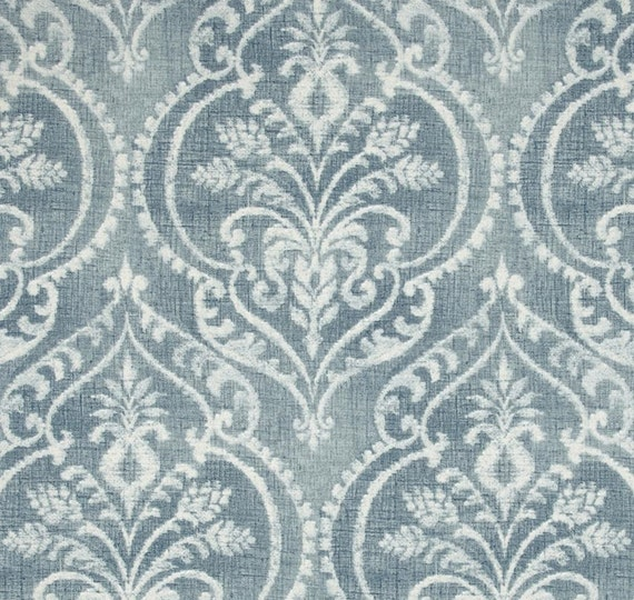 Fabric Shower Curtain Dalusio Damask white and chambray blue 72 x 84 ...