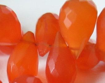 9mm Carnelian Faceted Briolette, Drop Shape Carnelian, Red Gemstones