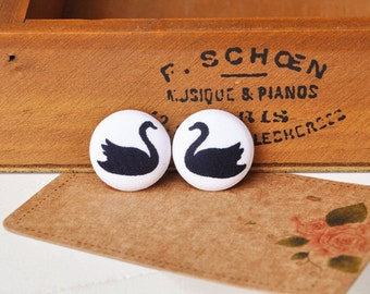 4pcs 2cm cute black swan fabric button- swan covered buttons- kids clothes buttons- earring/hair/ bracelet supply
