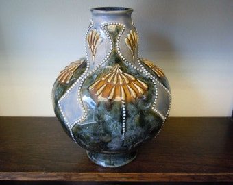 Royal Doulton Art Nouveau Bulbous Stoneware Beaded Vase Decorated by Maud Bowden - Circa 1910 -1920