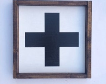 Swiss Cross, Wood Sign, Swiss Cross sign