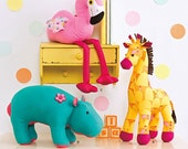 Simplicity Pattern 1082 Stuffed Hippo, Giraffe and Flamingo