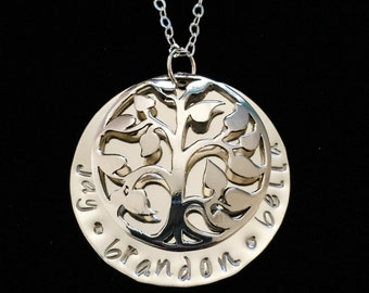 Mothers Day Hand Stamped Personalized Sterling Silver Tree Of Life Mother Necklace