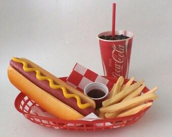 fake food faux diner car hop hot dog w/fries and coke basket