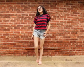 Copper Key Red and Blue Striped Short Sleeve Crop Top Size MEDIUM