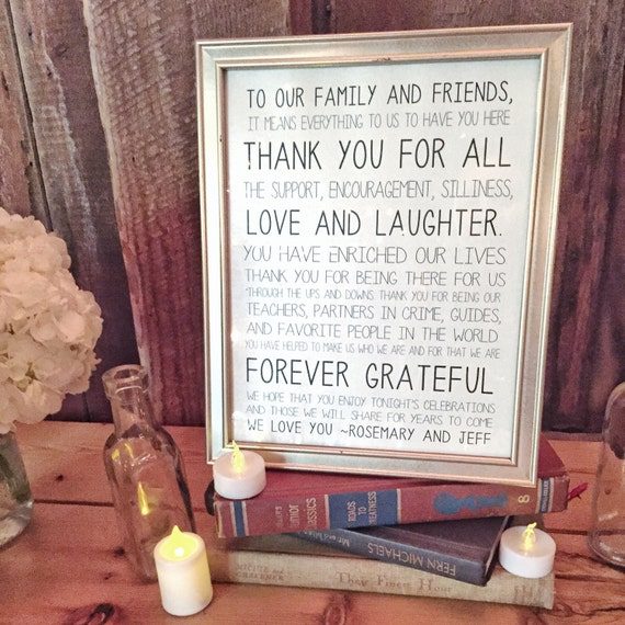 thank you wedding sign card and gift table
