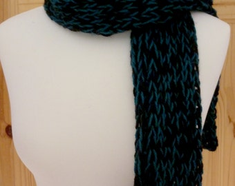 Blue and black winter scarf