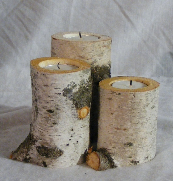 SALE White Birch Candle Holder Rustic Wedding By GFTWoodcraft
