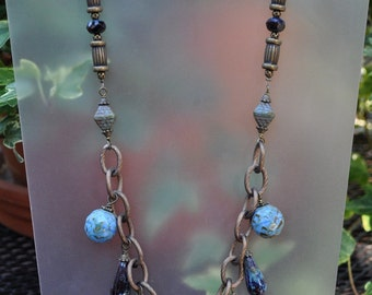 Antique Bronze and Turquoise Necklace and Earring Set