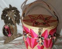 Huge VIBRANT BOHO Basket with Lid Laundry Picnic Sewing Yarn Dog Toy Storage Basket Baby Toy Holder Rubbish Bin